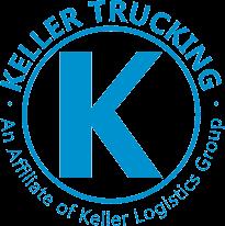Keller Trucking logo - Large circle with K in the middle and Keller Trucking around the circle